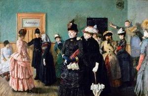 """Det kjente maleriet """"Albertine i politilegens venteværelse"""" illustrerer hvordan de prostituerte måtte inn til helsesjekk for å få drive sin virksomhet."""