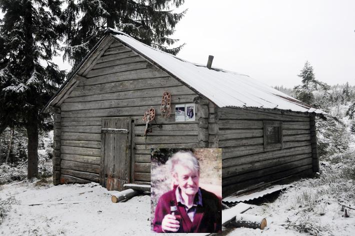 """Lusivegg i Skreiskogen, fotografert en novemberdag. Innfelt """"Ture"""" Sølver."""