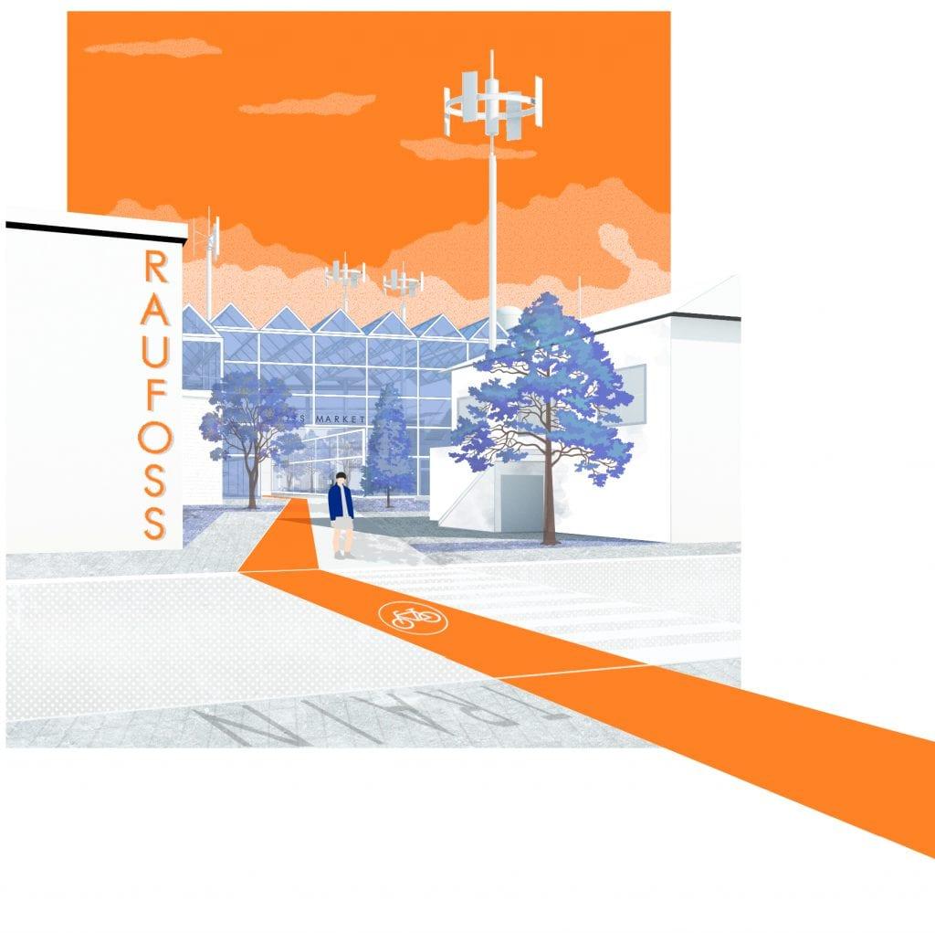 Et åpnere sentrum og færre barrierer er blant stikkordene for vinnerforslaget.