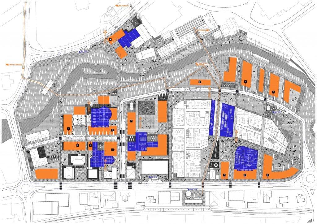 Slik skisserer La Erreria Raufoss sentrum, med blant annet ny jernbanestasjon, vindmølletårn og nye trafikkårer.